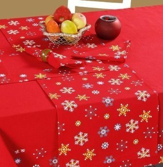 100% Cotton Christmas Red Snowflake Tablecloth | Red Snowflake Tablecloth | Scoop.it