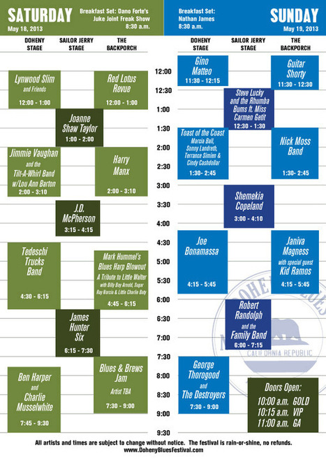 Performance Schedule | Doheny Blues Festival | Technical writing | Scoop.it