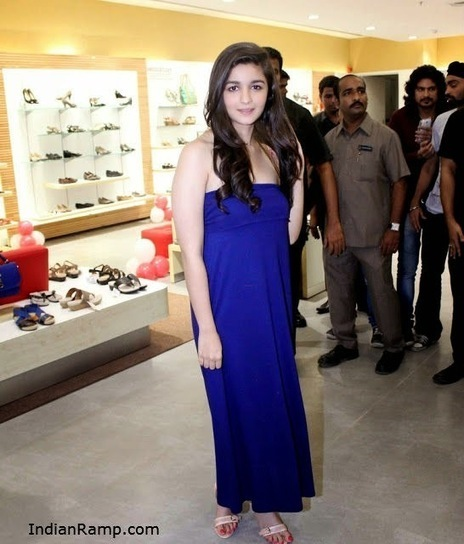 Alia Bhatt launches Bata Shop in a Blue Shoulder less dress IndianRamp.com   Body Hair Removal Cream for Women   Scoop.it