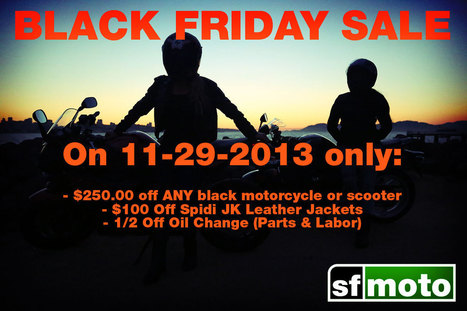 Black Friday Sales & Specials at SF Moto | SF Moto Blog | Scooters and Vespas | Scoop.it