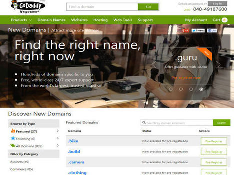 Pre-Registration for 14 New gTLDs Launched by GoDaddy | hostingtimes | Scoop.it