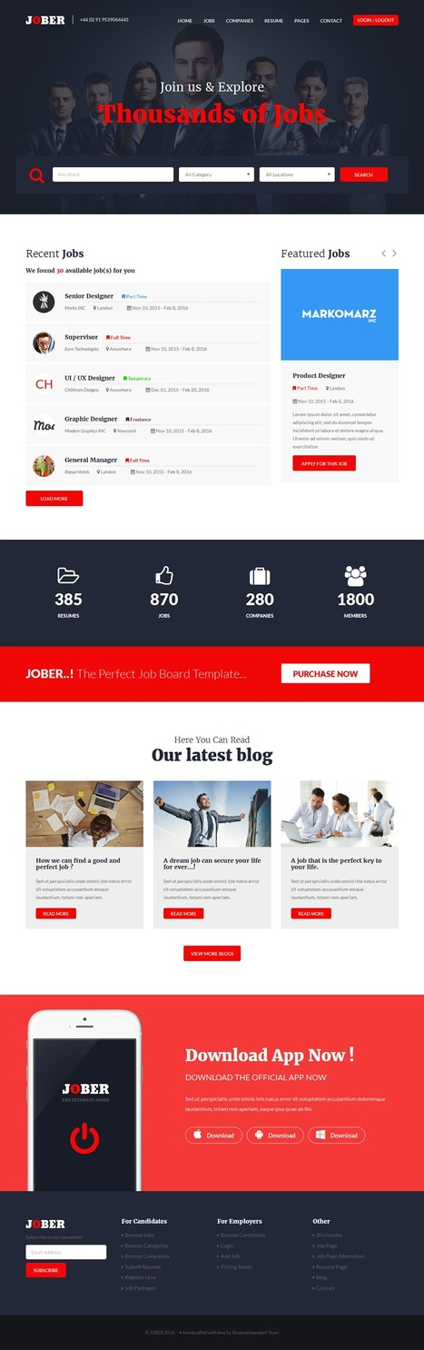 Jober 3 in 1 Elegant Job Board Bootstrap Template Download | Creative Themes and Template Download | Scoop.it