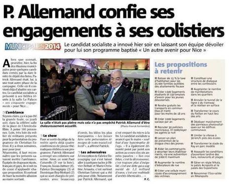 Patrick Allemand confie ses engagements à ses colistiers   Nice 2014, Un autre Avenir pour Nice avec Patrick Allemand   Scoop.it
