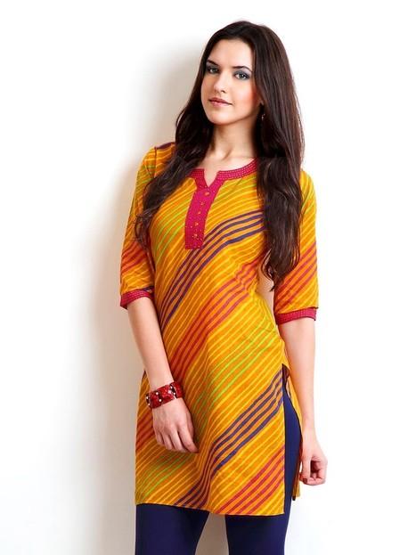 Golden Yellow Pure Cotton Kurti with Strips Print-JK1522 | www.jaipurkurti.com | Scoop.it