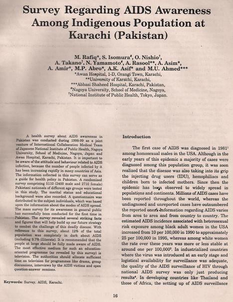 Survey Regarding AIDS Awareness Among  Indigenous Population at Karachi, Pakistan by Baariz | Hiv Aids Treatment | My Interests | Scoop.it