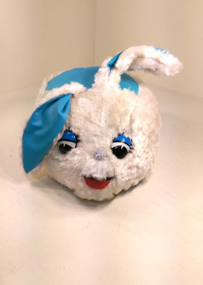 Huge RARE Kitschy Mid-Century Modern Plush Stuffed Bunny Rabbit Kid's Stool Seat TV Tuffet by Atlanta Novelty White & Turquoise Blue | Antiques & Vintage Collectibles | Scoop.it