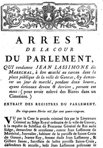 Jean LASSIMONE, pilleur de tombes à Gannat (1780) - Histoire et Généalogie | GenealoNet | Scoop.it