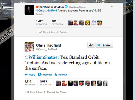 Twitter Fun in The Space: William Shatner Tweeted an Astronaut Living in Space & He Replied | Science, I choose you! | Scoop.it