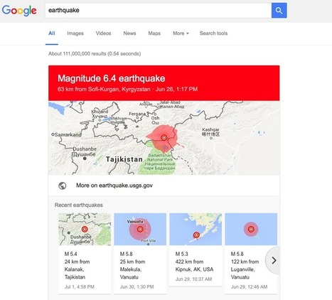 Google Now shows recent earthquake map in search results - Geoawesomeness   Aardrijkskunde van mud   Scoop.it