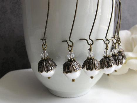 4 Pairs Vintage Bridal Wedding Style, Filigree Bead cap Swarovski Crystal and Pearls Earrings Bridesmaids Nickel Lead Free Ear accessory   Wedding Ideas   Scoop.it