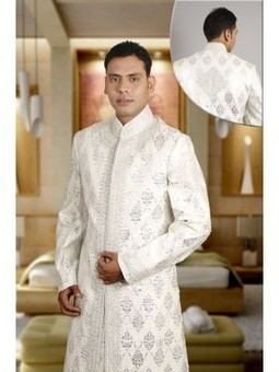 Aava White Embroidered Sherwani with Churidar-SH17 - Shop and Buy Online at Best prices in India. | Online Diwali-gifts | Scoop.it