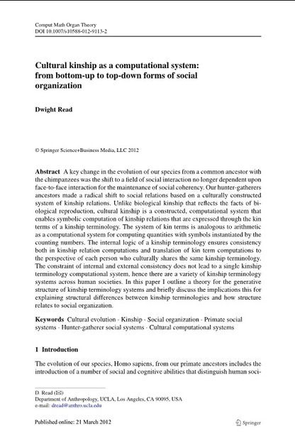Cultural kinship as a computational system: from bottom-up to top-down forms of social organization | MABS | Scoop.it