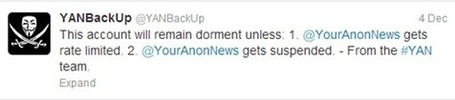 Well this should be interesting: Anonymous account (YourAnonNews) suspended by Twitter - Geek Slop | Brian's Science and Technology | Scoop.it