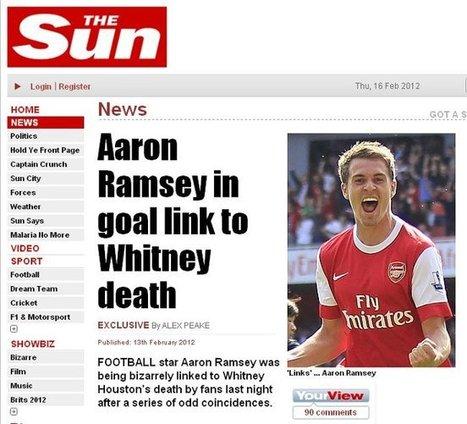 Quand Aaron Ramsey marque un but, une célébrité meurt | Mais n'importe quoi ! | Scoop.it