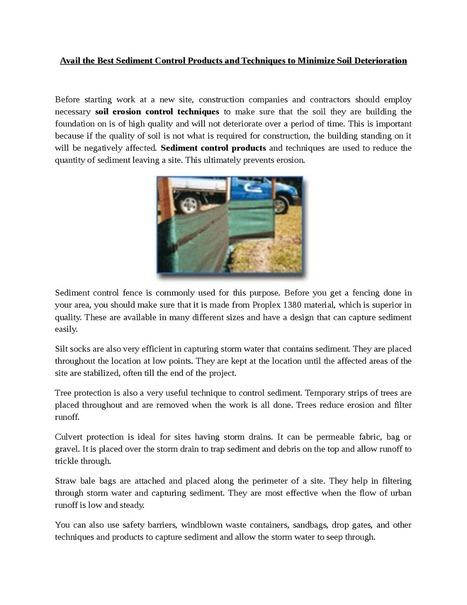 Best Sediment Control Products and Techniques to Minimize Soil Deterioration | Sediment Control | Scoop.it