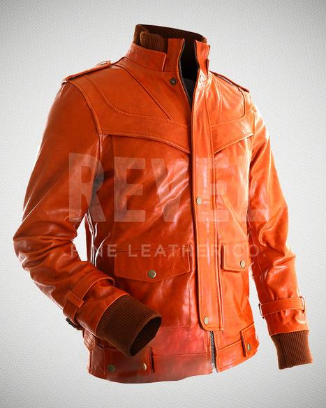 Blazing Orange Distressed Leather Jacket | Leather Jacket | Scoop.it