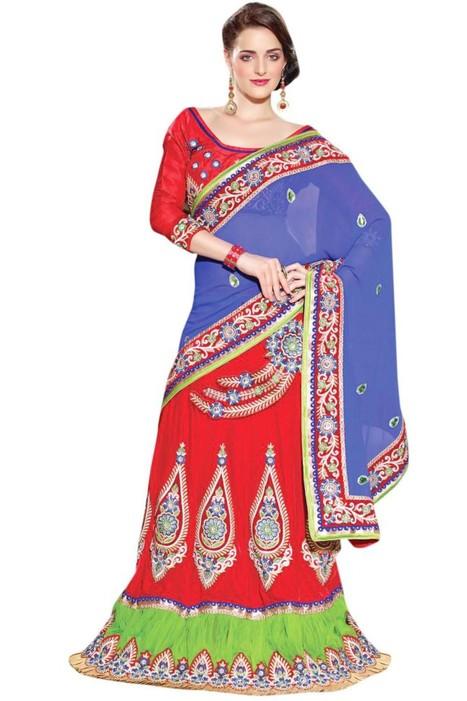 Triveni Attractive Embroidered Wedding Indian Designer Exclusive Lehenga Saree - Sarees - Clothing - Women | Online Shopping | Scoop.it