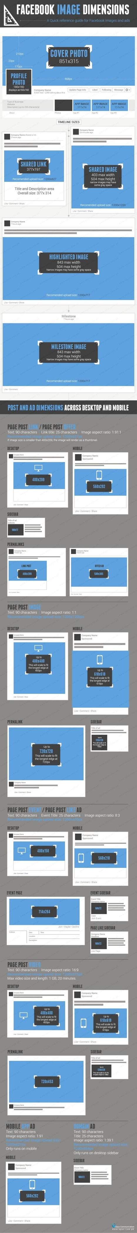 All Facebook Image Dimensions: Timeline, Posts, Ads [Infographic] | Social Media Marketing | Scoop.it