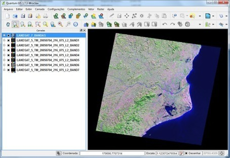 Quantum GIS 1.7.3: Landat-5 Composição 7 Bandas (Layer Stack) | Geoprocessing | Scoop.it