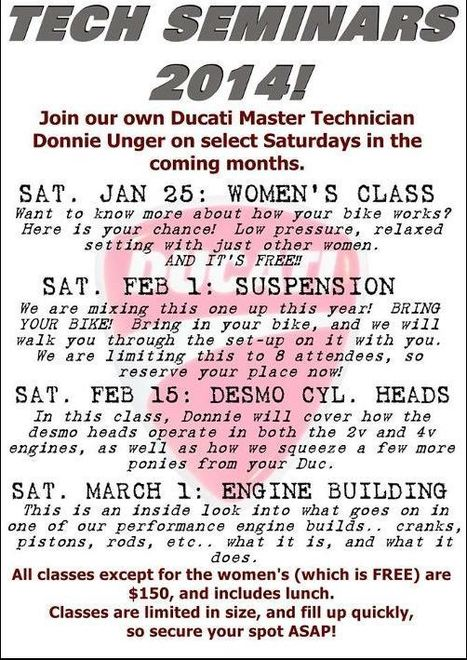 Duc Pond MotosportsTech Seminars 2014 Schedule | Ductalk Ducati News | Scoop.it