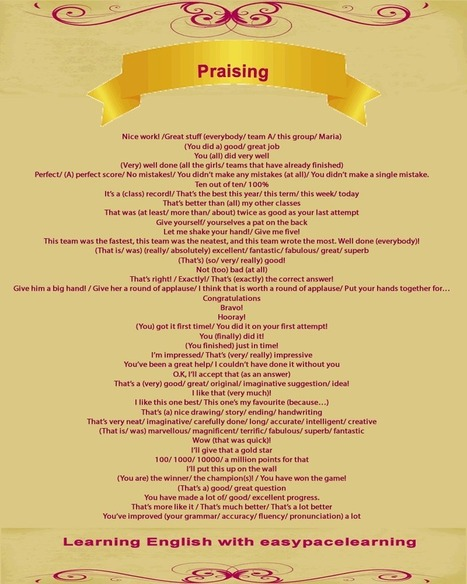 Praise and encouragement phrases you can use to show you appreciate English words | Learning Basic English, to Advanced Over 700 On-Line Lessons and Exercises Free | Scoop.it