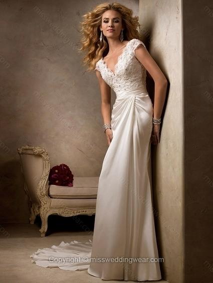Sheath/Column Off-the-shoulder Silk-like Satin Court Train Lace Wedding Dresses   2014 wedding dress online   Scoop.it