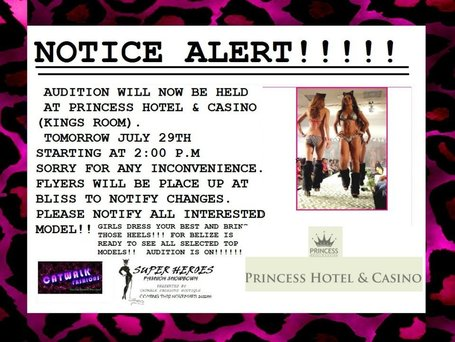 Catwalk Fashions Top Model Auditions Changes Venue to Princess Hotel and Casino in the Kings Room at 2PM tomorrow afternoon 7/29/2012 | Things to do in Belize | Scoop.it