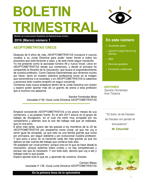 AEOPTOMETRISTAS-Boletin trimestral marzo 2016 | Salud Visual (Profesional) 2.0 | Scoop.it
