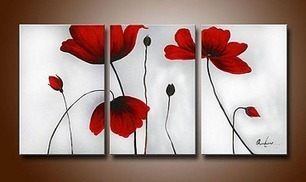 Flowers Hand-painted 3-piece Modern Oil Painting Stretched Framed on Wooden Frame | oil painting | Scoop.it