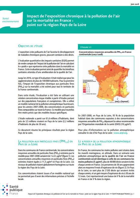 Santé publique > Impact de l'exposition chronique à la pollution de l'air sur la mortalité en France : point sur la région Pays de la Loire   Observer les Pays de la Loire   Scoop.it