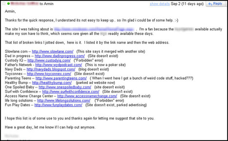 Broken Link Building In Action: REAL Email Example Inside! | Nick LeRoy | Link Building and Linkers | Scoop.it