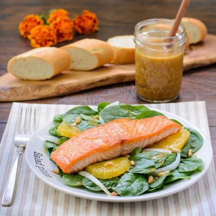 Salmon Spinach Salad With Orange Miso Dressing | Wine labels | Scoop.it