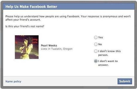 Facebook Asks Users If Their Friends Are Using Their Real Names - AllFacebook | Djalem Social Media | Scoop.it