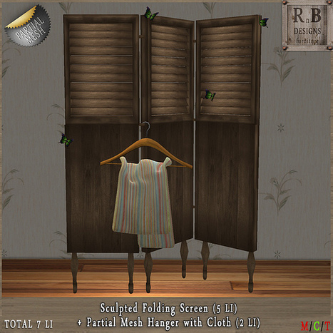 GIFT ! *RnB* Folding Screen & Hanger with Cloth (Partial Mesh) (copy only) | Second Life Freebies | Scoop.it