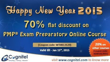 Happy new year 2015, Get 70 % discount on the ‪#‎PMP‬ Exam Preparatory Online Course (Coupon code: WTI8EL3129) | Cognitel Training Courses | Scoop.it