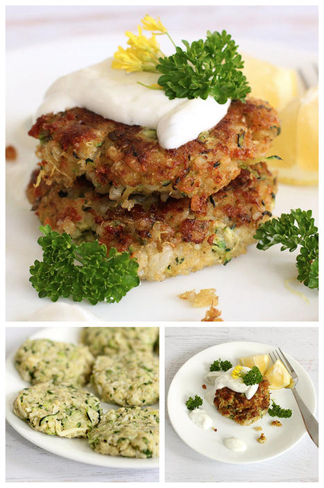 Zucchini Quinoa Patties with Lemon Oregano Yogurt Sauce   The Man With The Golden Tongs Goes All Out On Health   Scoop.it