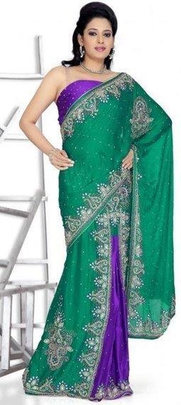 Green And Purple Color Chiffon Designer Lehenga Saree MYSM1430 | Bridal Sarees , Lahenga Sarees Collection | Scoop.it