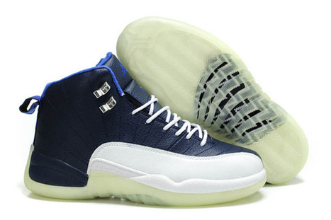 Men Jordan Shoes Retro 12 Obsidian White & Blue Basketball Leather Shoes - Glow Shoes | my style | Scoop.it