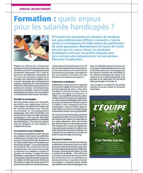 Formation : quels enjeux pour les salariés handicapés ? L'Equipe   Entreprise-Formation-Handicap   Scoop.it
