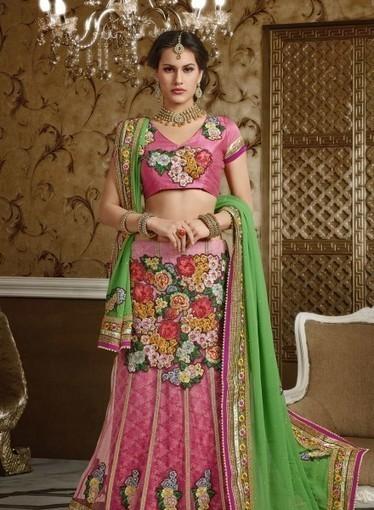 Buy online this Lehnga In Pink,Green in Net Jacquard with Resham Work GF6140678   Bridal Lehengas   Scoop.it