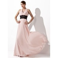 [R$ 292.18] Vestidos princesa/ Formato A Cabresto Chá comprimento De chiffon Vestido de festa com Pregueado Renda Cintos (017021127) | fashion dress | Scoop.it