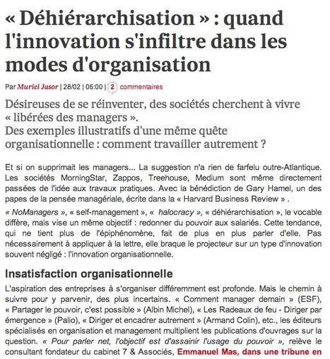«Déhiérarchisation»: quand l'innovation s'infiltre dans les modes d'organisation | Agile | Scoop.it