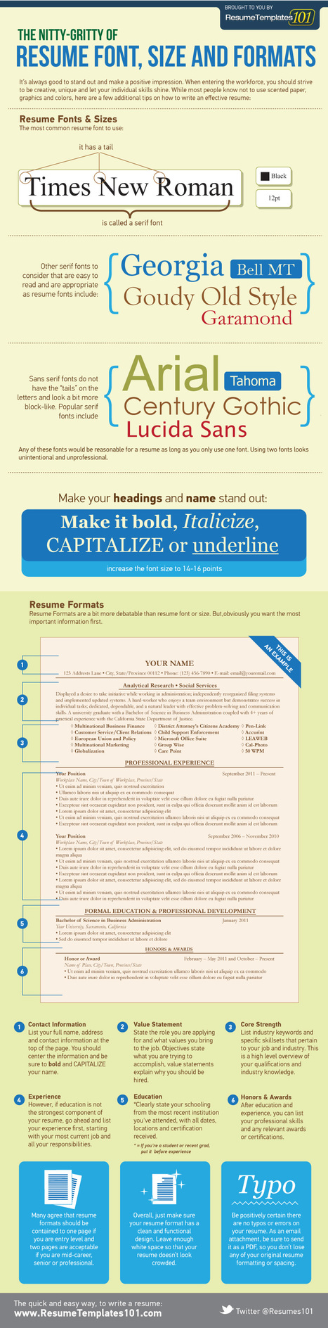The Nitty-Gritty of Resume Font, Size and Formats [INFOGRAPHIC] | career development | Scoop.it