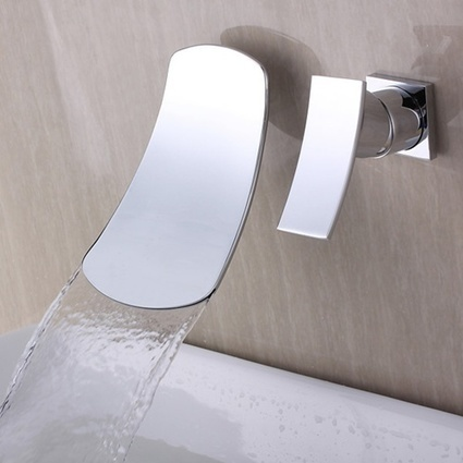 Chrome Finish Ceramic Valve Contemporary Wall Mounted Waterfall Bathtub Faucet with Single Handle -- Faucetsmall.com | Shower Faucets & Bathtub Faucets | Scoop.it