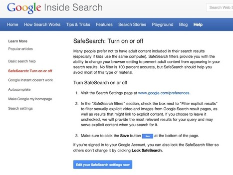 Use Google SafeSearch tools to keep your family safer online this ... | Specialty Search Engines | Scoop.it