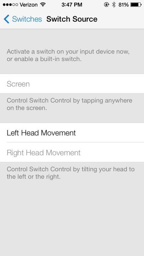 iOS 7 includes the ability to control your iPhone or iPad using head movements [video] | Disability Cool | Scoop.it