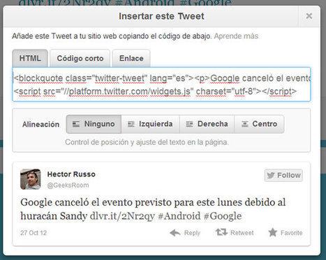 Cómo embeber Tweets en página web manualmente | Las TIC en la escuela | Scoop.it