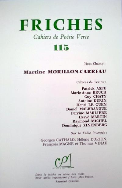 [vient de paraître]  Friches, Cahiers de Poésie Verte, 115 [Hors Champ  : Martine Morillon-Carreau] | Poetry | Scoop.it