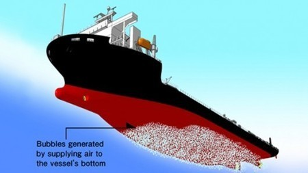 Mitsubishi reduces friction on ship hulls by blowing bubbles | Sustainable Technologies | Scoop.it