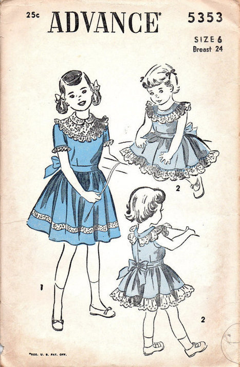 1940s Sewing Pattern Advance 5353 Holiday Garden Party Frilly Tea Dress Full Skirt Girls Size 6 | Vintage Sewing Patterns | Scoop.it